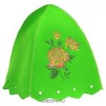 """Шапка для бани и сауны """"Роза"""", цвет: зеленый"""