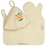 """Набор для бани и сауны """"Добрая банька"""": шапка, рукавица, коврик"""